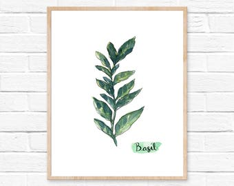 Basil Watercolor Print No.103, Herbs Art Print, Green Kitchen Decor, Plants, Herb Garden Gift Idea, Herb Print Basil Art, Watercolor Kitchen