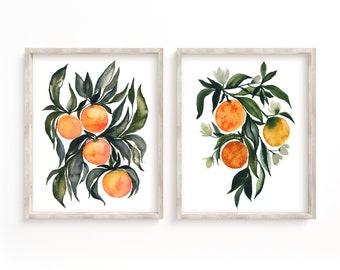 Orange, Fruit, Art Prints, Set of 2