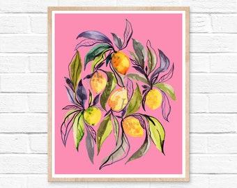 Watercolor Lemons Print, Fruit Wall Art, Kitchen Wall Decor, Lemon Decor, Housewarming Gift, Original Painting, Best Selling, Pop Art, Boho