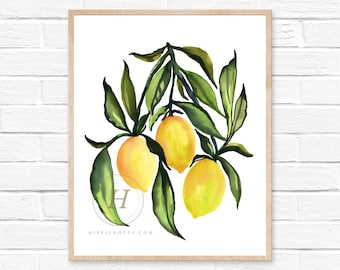 Watercolor Lemon Art Prints. French Country Decor. Farmhouse Decor. Farmhouse Wall Decor. Kitchen Art Prints. Dining Room Wall Art