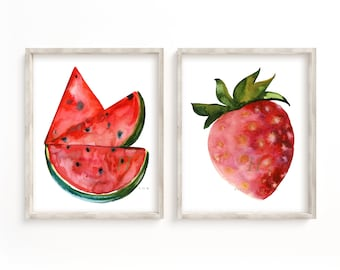 Watermelon and Strawberry Watercolor Prints set of 2