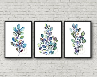 Eucalyptus Set of 3 Watercolor Prints by HippieHoppy