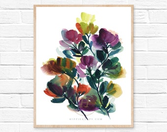 Flower abstract print, Watercolor floral, Wall art