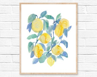 Lemons Watercolor Print, Abstract Lemon Print, Lemon Watercolor Kitchen Art, Kitchen Decor Yellow, Yellow Fruit Art, Kitchen Fruit Decor Art