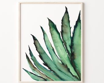 Agave Art Print Watercolor Painting