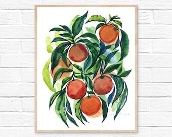 Oranges, Watercolor Print, Modern Art by HippieHoppy