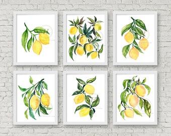 Lemon Watercolor Print Set of 6 Art Prints Kitchen Wall Art