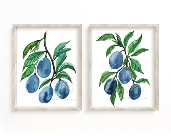 Plums Watercolor Art Prints set of 2 by HippieHoppy