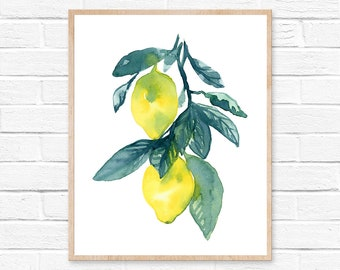 Lemon Print Fruit Painting Lemon Watercolor Painting Lemon Poster Fruit Watercolor Kitchen Wall Art Yellow Wall Art Yellow Home Decor Lemon