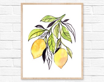 lemon watercolor lemon print lemon painting lemon lemon art watercolor painting kitchen wall art kitchen decor lemon wall art fruit art