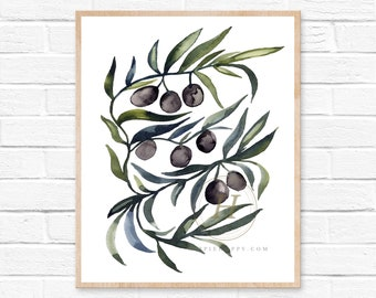 Olive Branches Watercolor Art Print Kitchen Wall Art and Decor by HippieHoppy