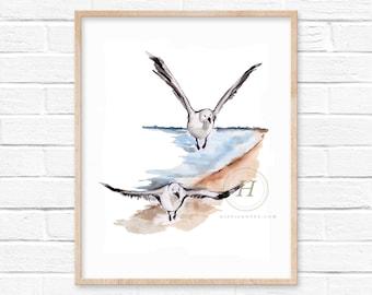 Watercolor Seagull Print - bird lover gift - beach house decor