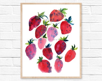 Watercolor Strawberry print, Red Home decor, Kitchen wall art, Food art, Strawberry illustration, Summer fruit painting, Art gift