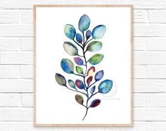 Eucalyptus Watercolor Wall Art Print