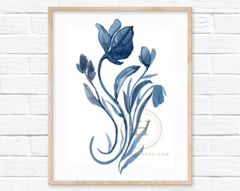 Floral Blue Watercolor Art Print