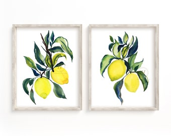 Large Lemon Watercolor Print Set of 2