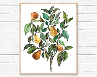 Pear Tree Watercolor Print