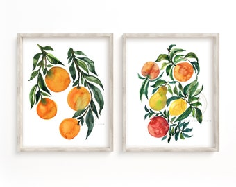 Fruit Watercolor Prints Set of 2 by HippieHoppy