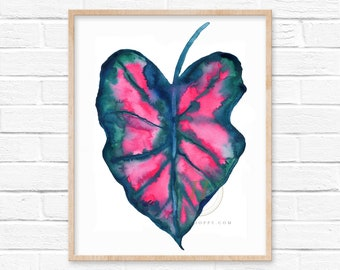 Large Watercolor Plant Print, Wall Art by HippieHoppy