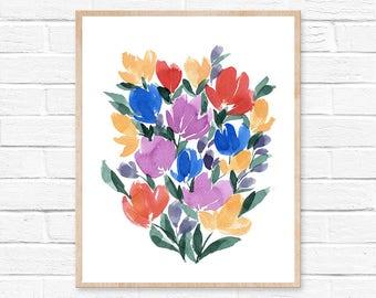 Flowers Watercolor Print by HippieHoppy, Unframed