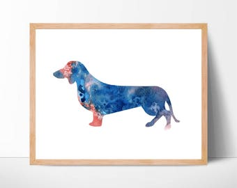 Watercolor Dachshund Art No.1, Dachshund Print, Dachshund Wall Decor, Dachshund Dog, Dachshund Watercolor Print, Dog Art, Dog Lover Wall Art