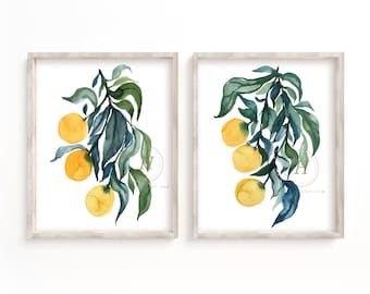 Orange Watercolor Print Set of 2 Kitchen Art