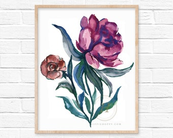 Flower Art Print Floral Decor by HippieHoppy