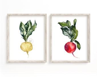 Radish Watercolor Print Set of 2 by HippieHoppy