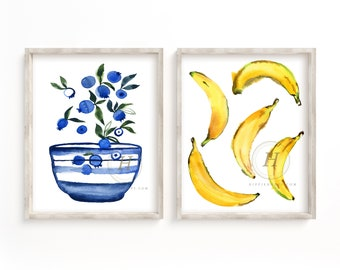 Blueberries and Bananas Watercolor Prints set of 2