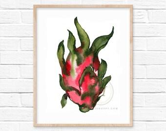 Dragon Fruit Watercolor Print Fruit Art