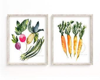 Vegetable Art prints set of 2