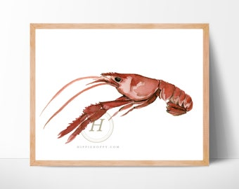 Large Crawfish Watercolor Print