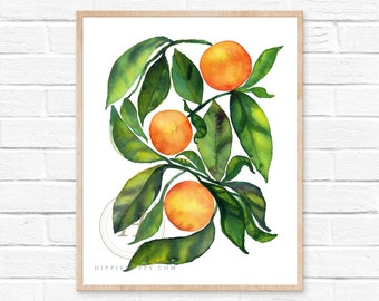 Orange Fruit print, Watercolor wall art, Kitchen painting
