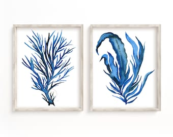 Large Seaweed Watercolor Prints by HippieHoppy