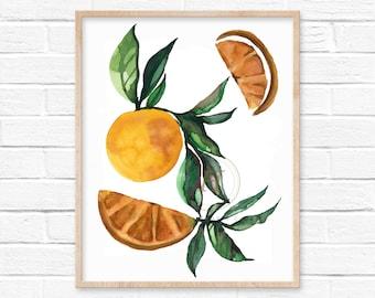 Orange Watercolor Print by HippieHoppy