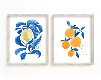 Lemon and Orange Watercolor Print Set of 2