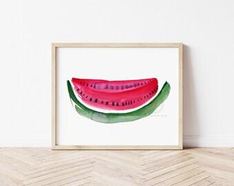 Watermelon, Watercolor Print, Modern Art by HippieHoppy