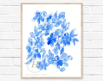 Blue Flower Print, Watercolor Florals, Wall Art
