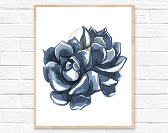 Cactus Art Print, Succulent Print, Botanical Art, Cactus Art, Modern Wall Decor, Desert Art, Cactus Print, Cactus Watercolor, Cacti, Blue