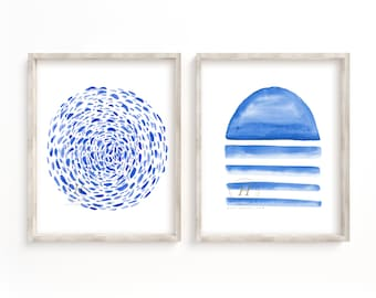 Abstract Print Set of 2, Blue Watercolor, Wall Art