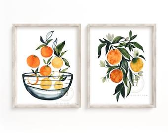 Oranges Art Watercolor Print set of 2