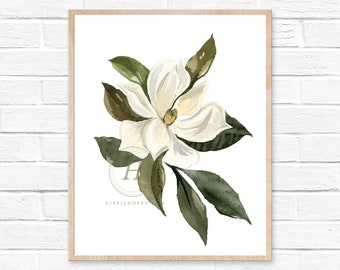 Magnolia Watercolor Print, Botanical Art by HippieHoppy