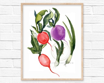 Vegetables Watercolor Print, Kitchen Wall Art by HippieHoppy