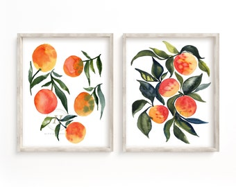 Fruit Print Set of 2 Watercolor Kitchen Art Wall Art Oranges Apricots