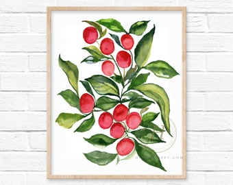Cherries Watercolor Print Fruit Wall Art