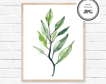 Leaves Poster Print, Plant Art Printable, Plant Leaves Art, Plant Wall Print, Greenery Printable, Green Plant Wall Art, Botanical Poster