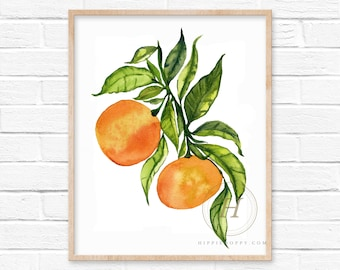 Orange Watercolor Art Print Kitchen Decor by HippieHoppy