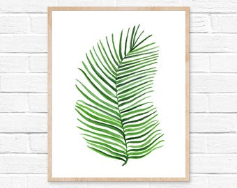 Watercolor Palm Print No.101 Palm Leaf Art Palm Wall Art Tropical Print Plant Home Decor Green Art Botanical Art Tropical Artwork Greenery
