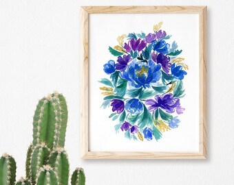 Flower Watercolor Art Print Purple Floral Art Floral Print Floral Art Print Bold Florals Colorful Flowers Home Decor Art Floral Blooms Art