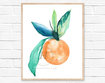 Orange Art Print Modern Bright Simple Fruit Nursery Kitchen Wall Art Decor Kids Toddler Childs Playroom